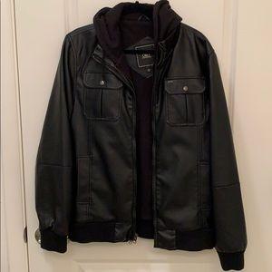 Lightly worn (2x) men's Obey black leather jacket